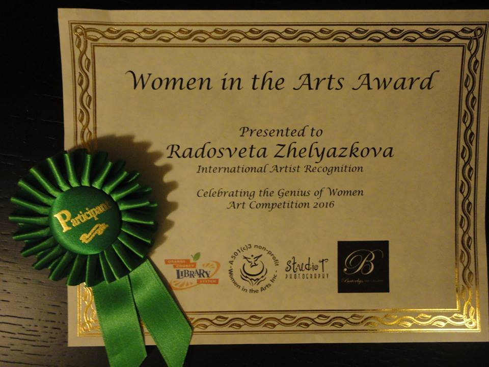 "Certificate from the ""Genius of Women"" art competition 2016"