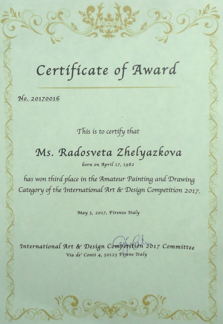awards and certificates received from competitions world wide