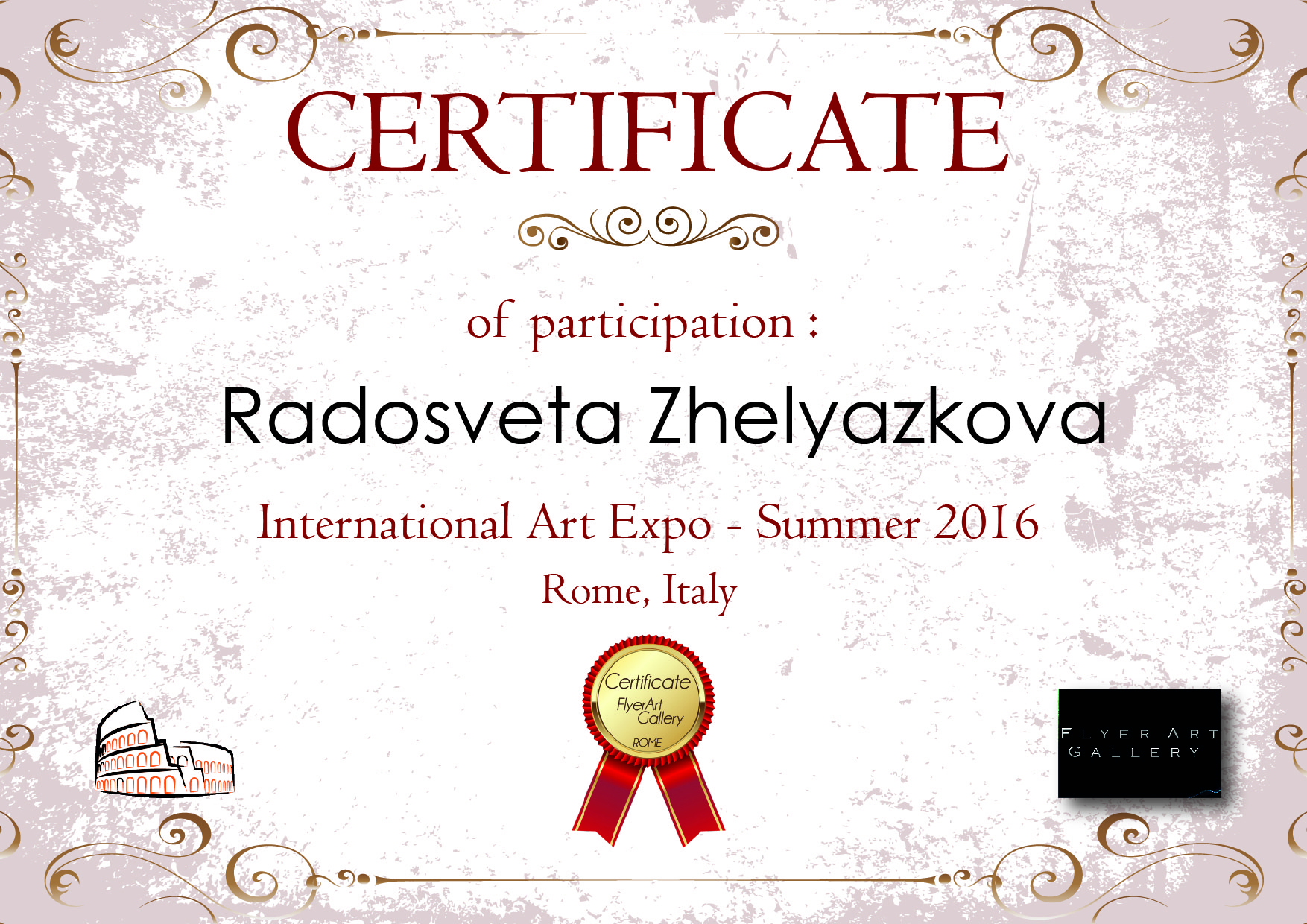Certificate from the International Art Expo