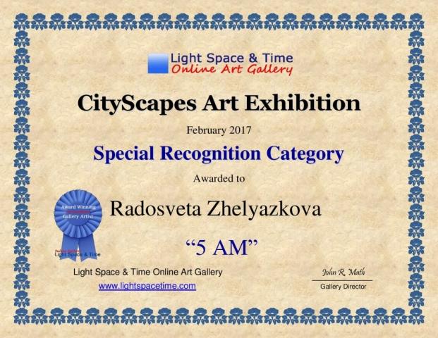 Radosveta Zhelyazkova; CityScapes 2017 Art Exhibition Certificate