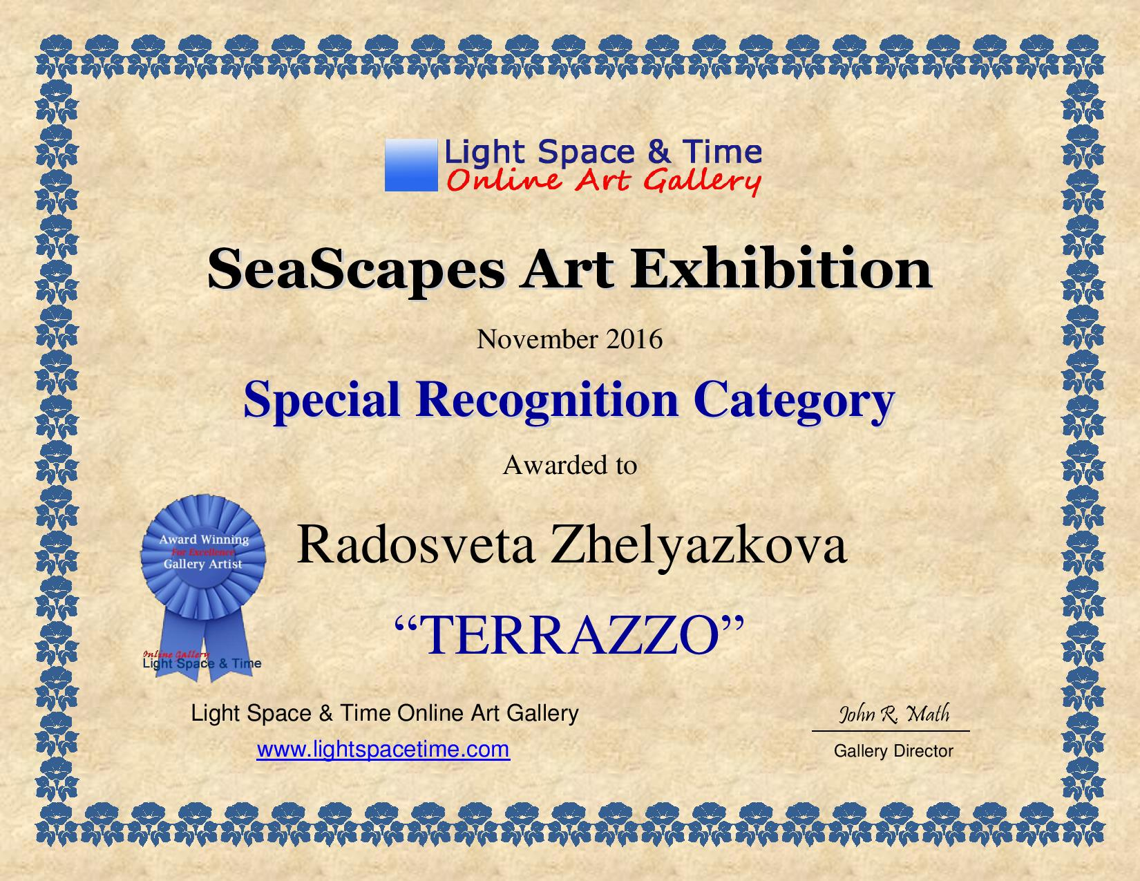 Radosveta Zhelyazkova; SeaScapes 2016 Art Exhibition; Certificate
