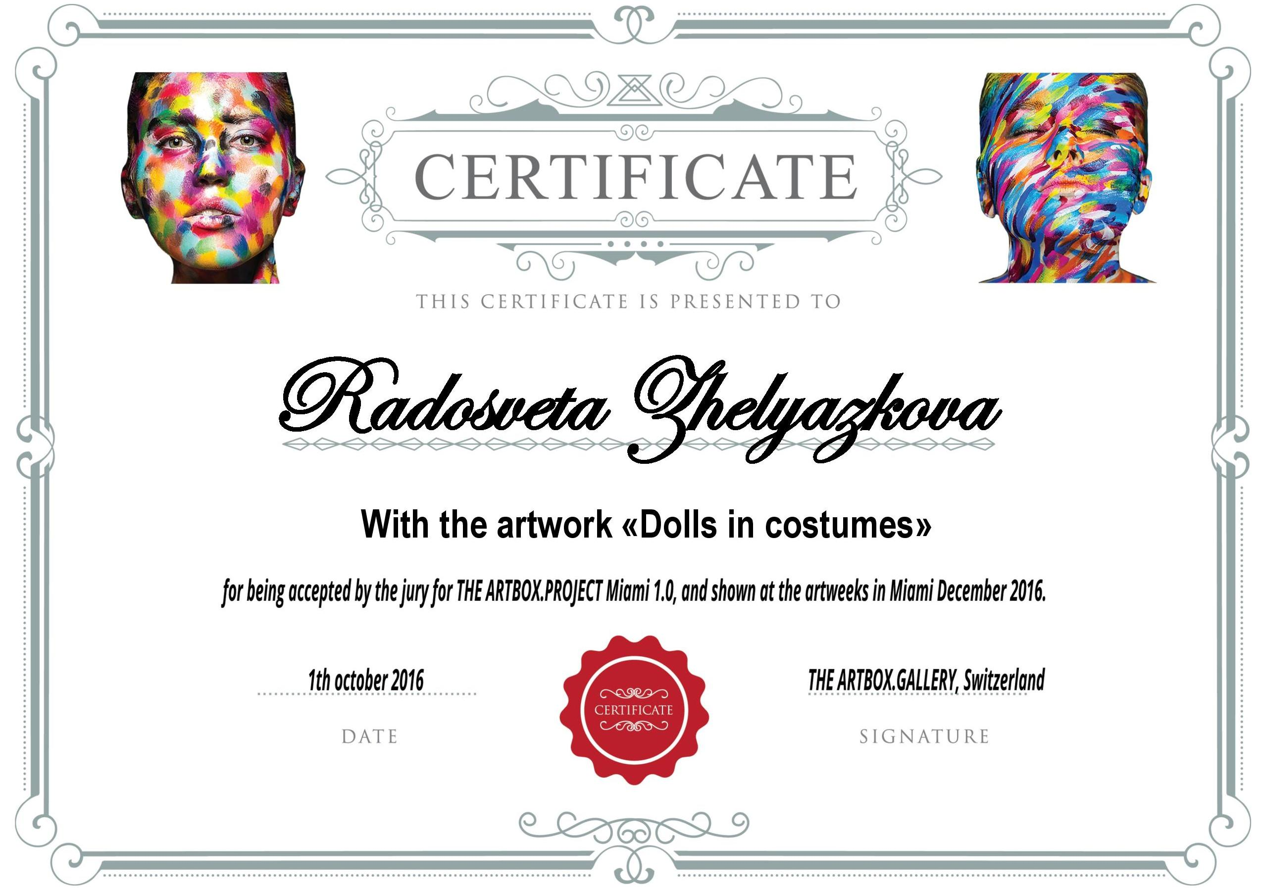 "Certificate from the ""ARTBOX.PROJECT"" Miani 1.0 art show 2016"