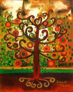 SOLD Autumn treeSize: 40 x 50 x 2 cmTechique: oil; acryl gold paint, gold leaf