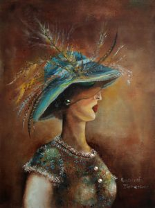 Lady with pearls Size: 40 x 30 cm