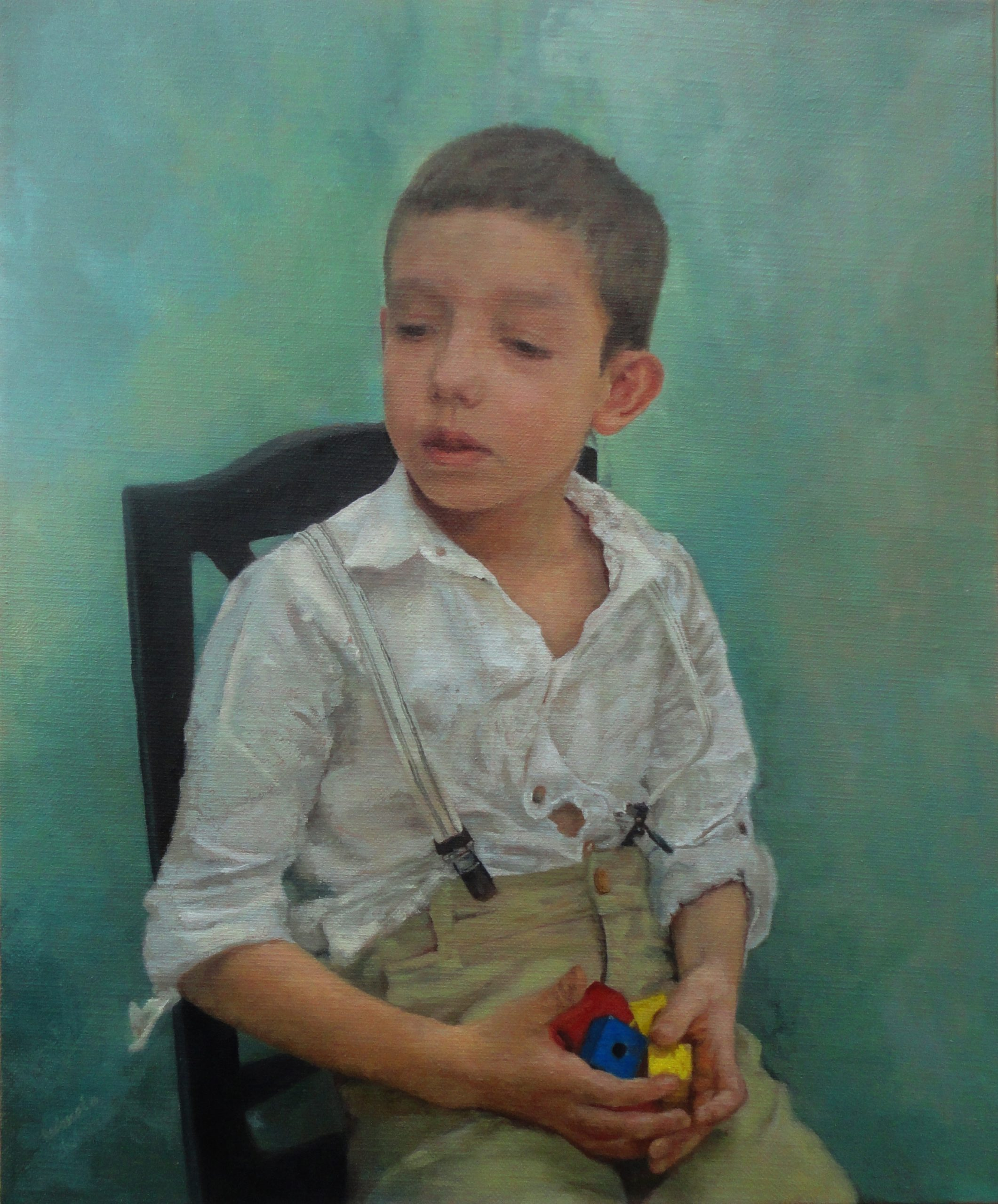 """Boy with wooden cubes"""
