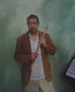 """""""Portrait of Flutist"""" Technique: oil colors on canvas Size: 80X70"""