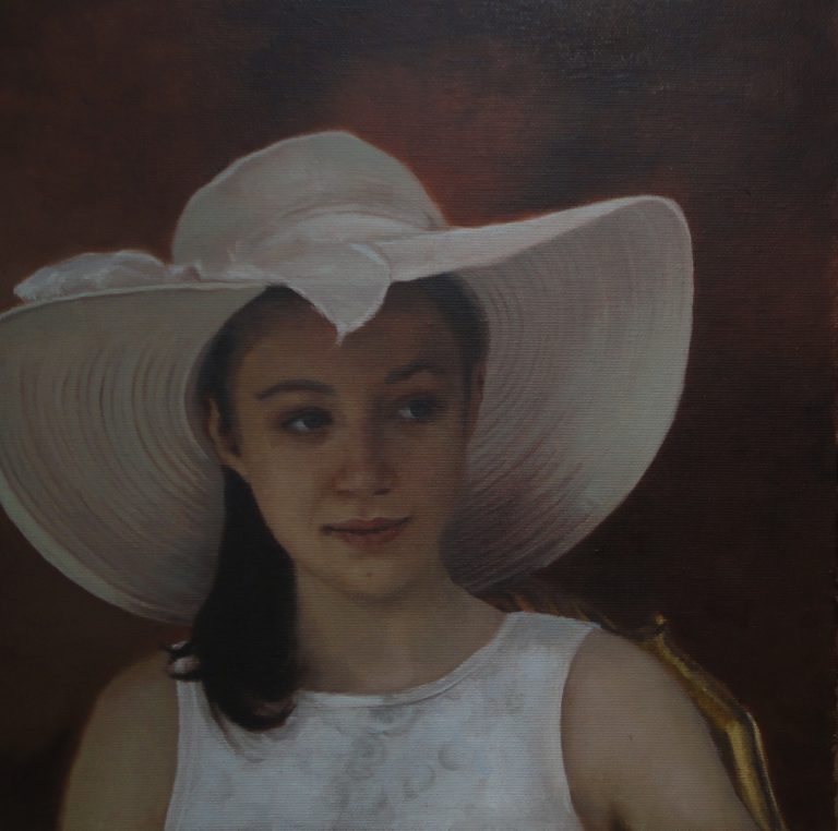 Girl with white hat