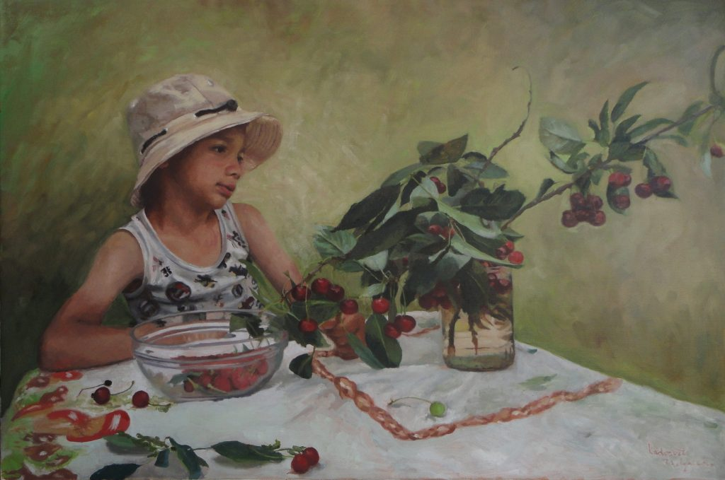 """""""A young boy with cherries"""", Oil colors on stretched linen, Size 60 x 90 cm"""