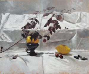 Still life painti in oil colors on canvas, 46 x 55 cm
