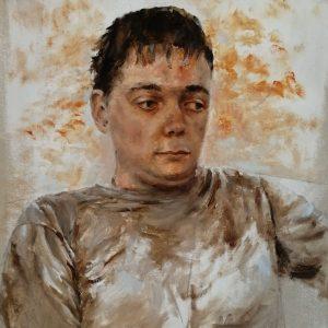 Portrait of Kiro, 70 x 40 cm, oil. $ 800